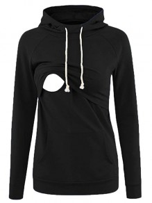 Black Pocket Drawstring Hooded Long Sleeve Pullover Maternity Sweatshirt