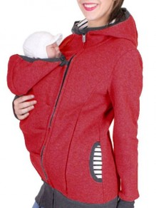 Red Kangaroo Pocket Long Sleeve Fashion Pullover Maternity Sweatshirts