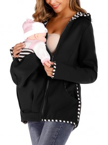 Black Kangaroo Pocket Zipper Long Sleeve Fashion Pullover Maternity Sweatshirts