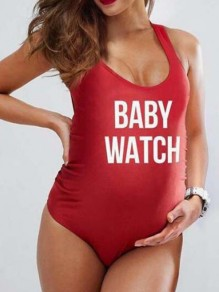 """Red """"BABY WATCH"""" Print Bodycon Maternity For Babyshowes Swimwear"""