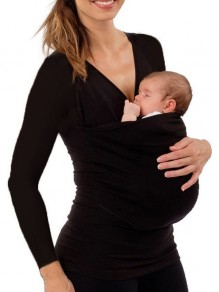 Black Kangaroo Pocket V-neck Long Sleeve Fashion Maternity T-Shirt