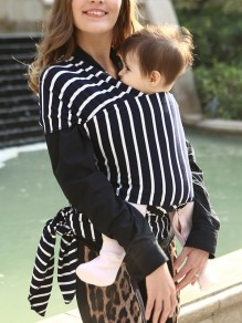 Black Striped Knot Round Neck Sleeveless Casual Maternity Vest