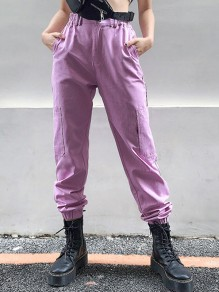Purple Buttons Pockets Casual Cargo High Waisted Sports Long Pants