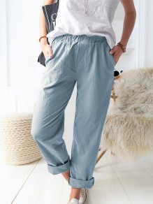 Blue Patchwork Pockets Elastic Waist Loose Fashion Long Pants
