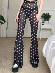 Black Daisy Pattern High Waisted Sheer Flare Bell Bottom Long Pants