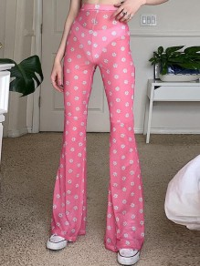 Pink Daisy Pattern High Waisted Sheer Flare Bell Bottom Long Pants