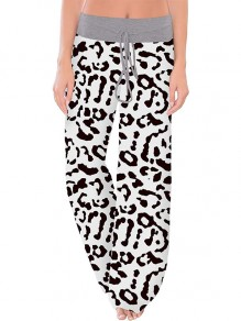 White Leopard Print Drawstring Waist Long Wide Leg Palazzo Pants Lounge Bottoms