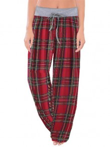 Red Plaid Print Drawstring Waist Long Wide Leg Palazzo Pants Lounge Bottoms