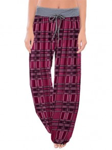 Pink Plaid Print Drawstring Waist Long Wide Leg Palazzo Pants Lounge Bottoms