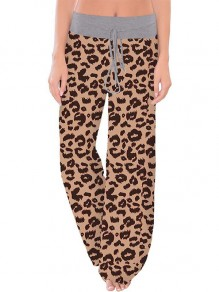 Coffee Leopard Print Drawstring Waist Long Wide Leg Palazzo Pants Lounge Bottoms