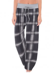 Black Plaid Print Drawstring Waist Long Wide Leg Palazzo Pants Lounge Bottoms