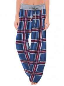 Dark Blue Plaid Print Drawstring Waist Long Wide Leg Palazzo Pants Lounge Bottoms