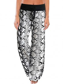 White Snake Print Drawstring Waist Long Wide Leg Palazzo Pants Lounge Bottoms