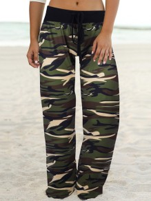 Army Green Camouflage Print Drawstring Waist Long Wide Leg Palazzo Pants Lounge Bottoms