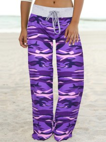 Purple Camouflage Print Drawstring Waist Long Wide Leg Palazzo Pants Lounge Bottoms