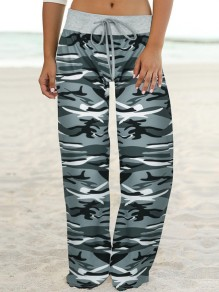Grey Camouflage Print Drawstring Waist Long Wide Leg Palazzo Pants Lounge Bottoms