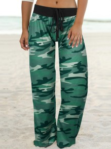 Green Camouflage Print Drawstring Waist Long Wide Leg Palazzo Pants Lounge Bottoms