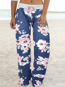 Blue Floral Print Drawstring Waist Long Wide Leg Palazzo Pants Lounge Bottoms
