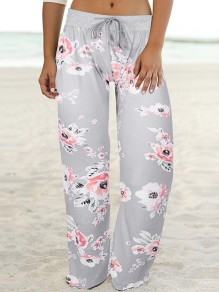 Light Grey Floral Print Drawstring Waist Long Wide Leg Palazzo Pants Lounge Bottoms