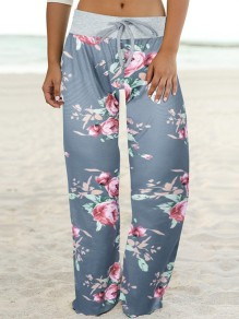 Dark Grey Floral Print Drawstring Waist Long Wide Leg Palazzo Pants Lounge Bottoms