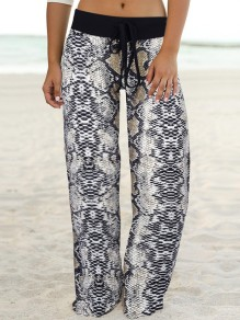 Black Snake Print Drawstring Waist Long Wide Leg Palazzo Pants Lounge Bottoms
