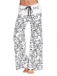 White Meow Cartoon Print Drawstring Waist Long Wide Leg Palazzo Pants Lounge Bottoms