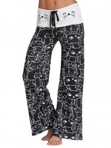 Black Meow Cartoon Print Drawstring Waist Long Wide Leg Palazzo Pants Lounge Bottoms