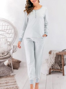 Grey Striped Round Neck Long Sleeve Mid-rise Fashion Loungewear Lounge Sets