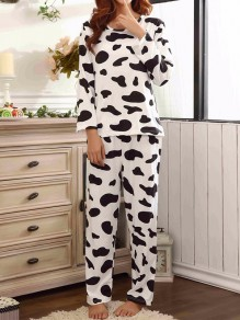 White-Black Cow Print Round Neck Long Sleeve Cute Long Lounge Sets