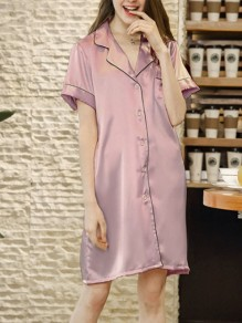 Red Patchwork Buttons One Piece Honey Girl Loungewear Lounge Dress