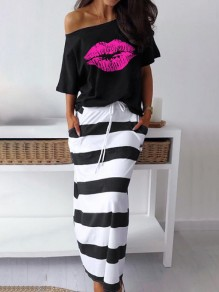 Black Lips And Striped Print Pockets Off Shoulder Two Piece Elastic Waist Maxi Lounge Dresses