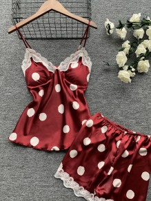 Red Polka Dot Print Two Piece Honey Girl Sleepwear Pajama Set
