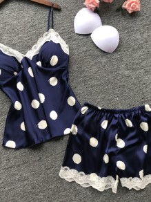 Blue Polka Dot Print Two Piece Honey Girl Sleepwear Pajama Set