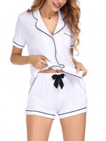 White Patchwork Buttons Two Piece Honey Girl Sleepwear Pajama Set