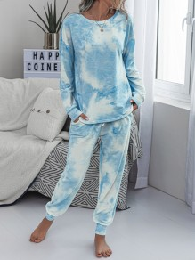 Blue-White Tie Dyeing Drawstring Pockets Two Piece High Waisted Long Sleepwear Pajama Sets