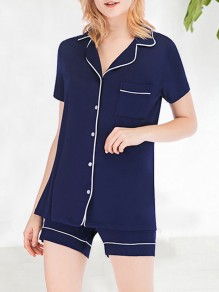 Navy Blue Pockets Single Breasted Modal Short Jumpsuit Pajama Set