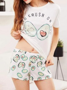 White Avocado Print Bow Round Neck Short Sleeve Shorts Pajama Sets