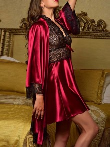 Rose Carmine Patchwork Lace 2-in-1 V-neck Long Sleeve Fashion Sleepwear Pajama Sets