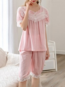Pink Patchwork Lace Mid-rise Cute Sleepwear Five's Pajama Set