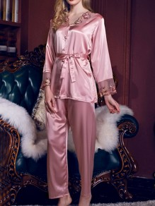 Pink Patchwork Lace Sashes Single Breasted Mid-rise Sleepwear Long Pajama Set