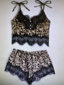 Brown Leopard Print Patchwork Lace Cut Out Lace-up Shoulder-Strap V-neck Sleeveless Short Pajama Set