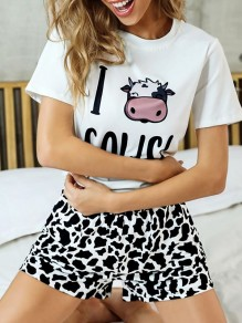 Black Cow Print Round Neck Short Sleeve High Waisted Short Pajama Set