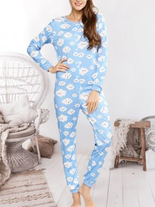 Blue Zipper Print Round Neck Long Sleeve Fashion Sleepwear Rompers