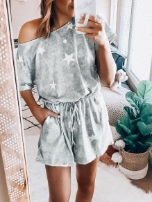 Grey Star Print Round Neck Short Sleeve Short Romper Pajama