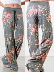 Grey Floral Print Drawstring Loose Mid-rise Fashion Sleepwear Sleep Bottoms