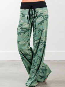 Green Floral Print Drawstring Loose Mid-rise Fashion Sleepwear Sleep Bottoms