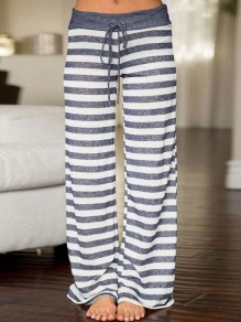 Grey Striped Print Drawstring Loose Mid-rise Fashion Sleepwear Sleep Bottoms
