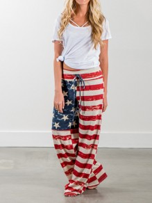 Red American Flag Striped Print Drawstring Loose Mid-rise Fashion Sleepwear Pajama Sleep Pant