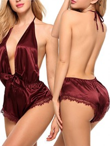 Burgundy Patchwork Lace Cut Out Bow V-neck Sleeveless Halter Neck Backless Silk Short Night Rompers