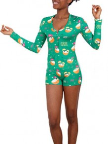 Green Cartoon Coconut Pattern Single Breasted Deep V-neck One Piece Pajama Nightwear Night Romper